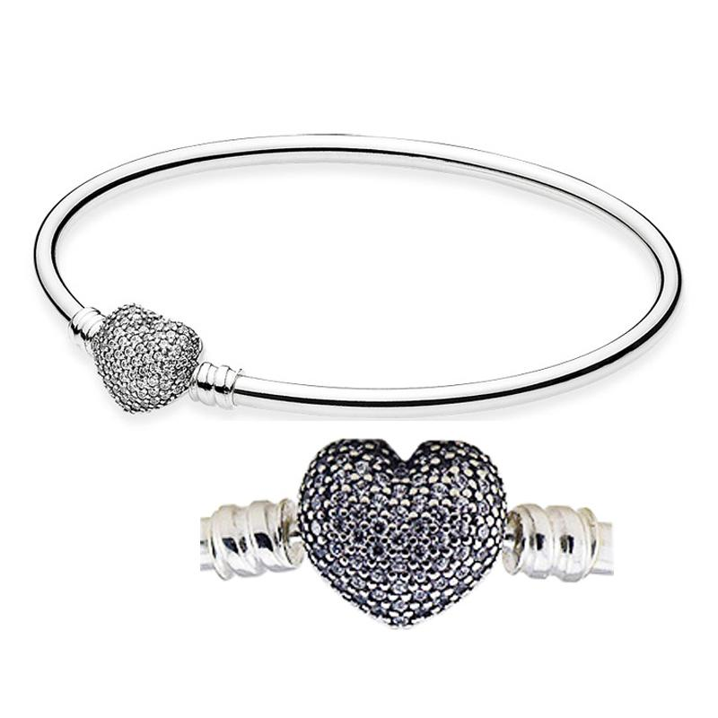 6e19afe24 Moments Mother's Day Gift Bangle Always in My Heart with Clear CZ 100% 925  Sterling Silver Beads Fit Pandora Charms Bracelet Fashion Jewelry