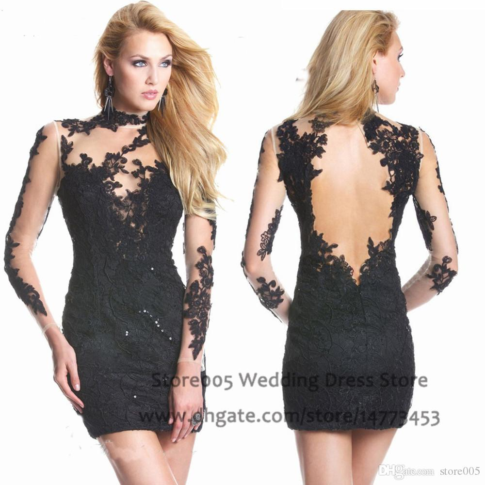 See Through Backless Black Short Prom Dress High Neck Appliques ...