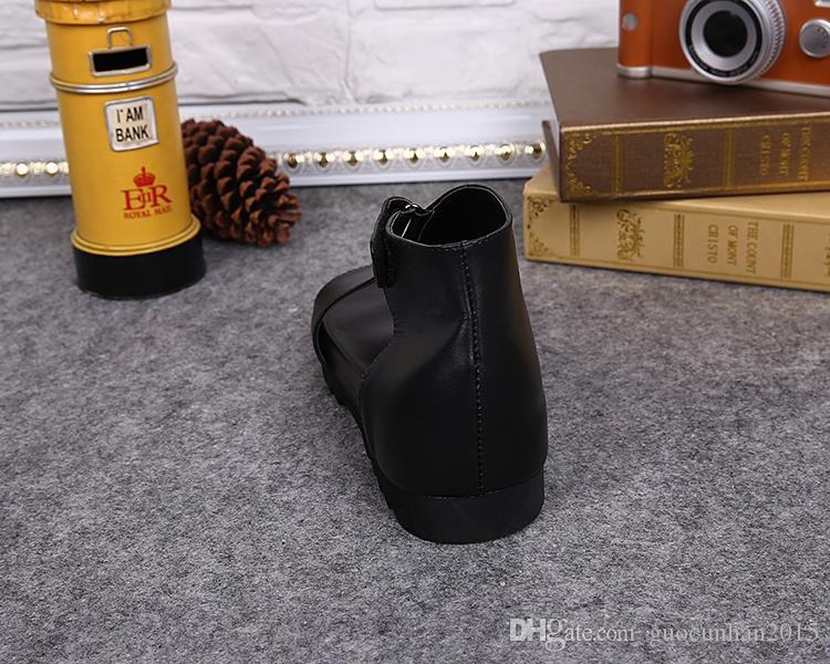 Chegada nova Estilo Britânico Moda Verão Sapatos de Inicialização Dos Homens Botas de Couro Genuíno Sapatos Pretos Homem Casuanl Italiano Concise Gladiador Gancho