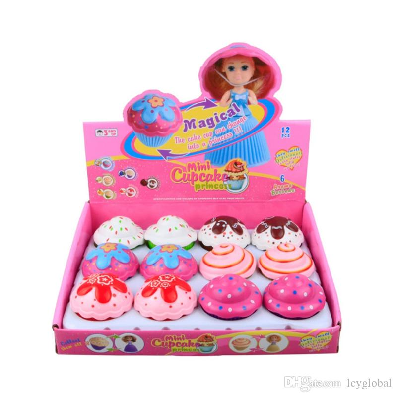 5.5cm Mini Magical Cupcake Scented Princess Doll Reversible Cake Transform to Mini Princess Doll 6 Roles with 6 Flavors