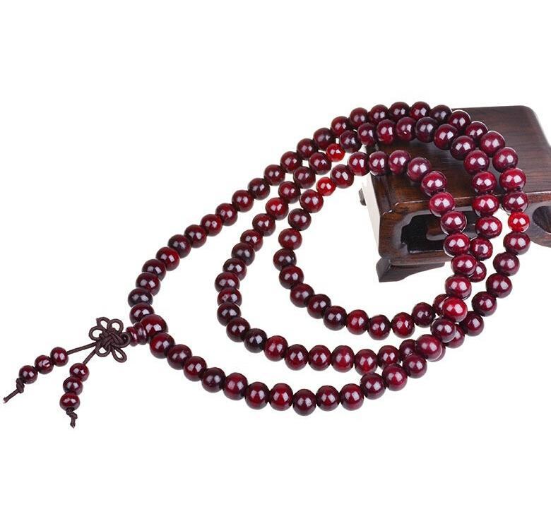 الأصلي اليدوى الطبيعية خشب الصندل الأحمر الخرز متعدد الطبقات أساور للنساء والرجال 6 ملليمتر 108 قطع بوذا أساور الإسورة أفضل هدية