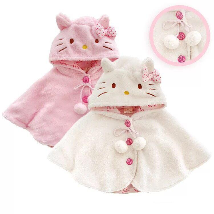 2015 Fashion Baby Girl Coats Hello Kitty Baby Soft Fleece Cloak