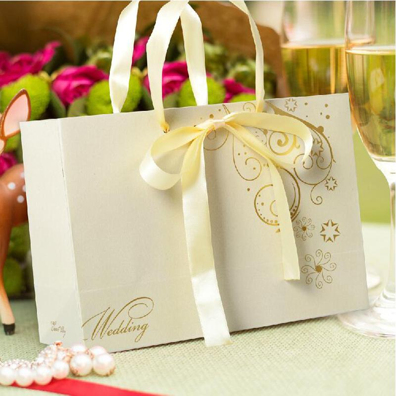 Champagne Color Ribbon Bowtie Party Favor Holder Wedding Gift Bag ...