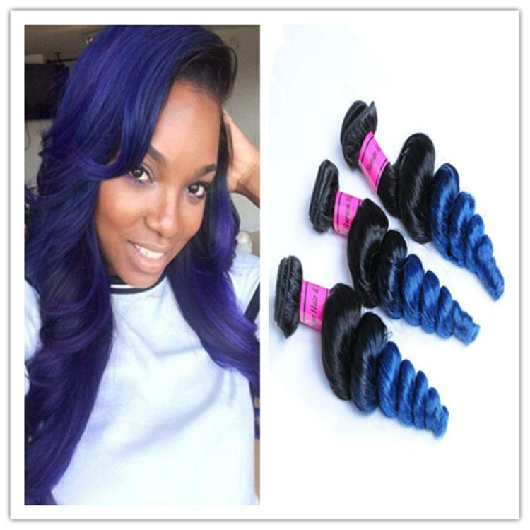 Cheap 8a black blue weft hair weave ombre brazilian human hair cheap 8a black blue weft hair weave ombre brazilian human hair loose wave two tone 1b blue ombre hair extensions 300gbundle hair weave wholesalers milky pmusecretfo Images