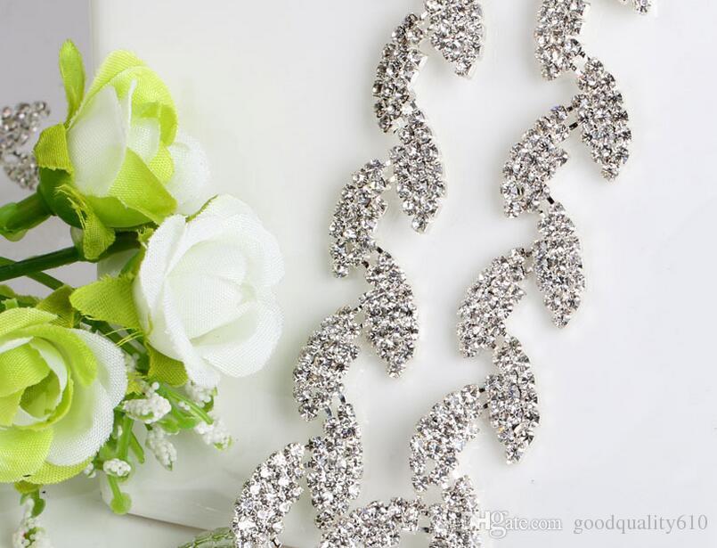 1 Yard Sparkle Rhinestones Crystals Leaf Shape Silver Plated Ribbon Chain Trim