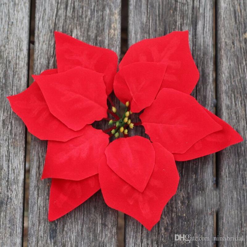 2019 Artificial Flowers Silk Flowers Christmas Poinsettia Flower