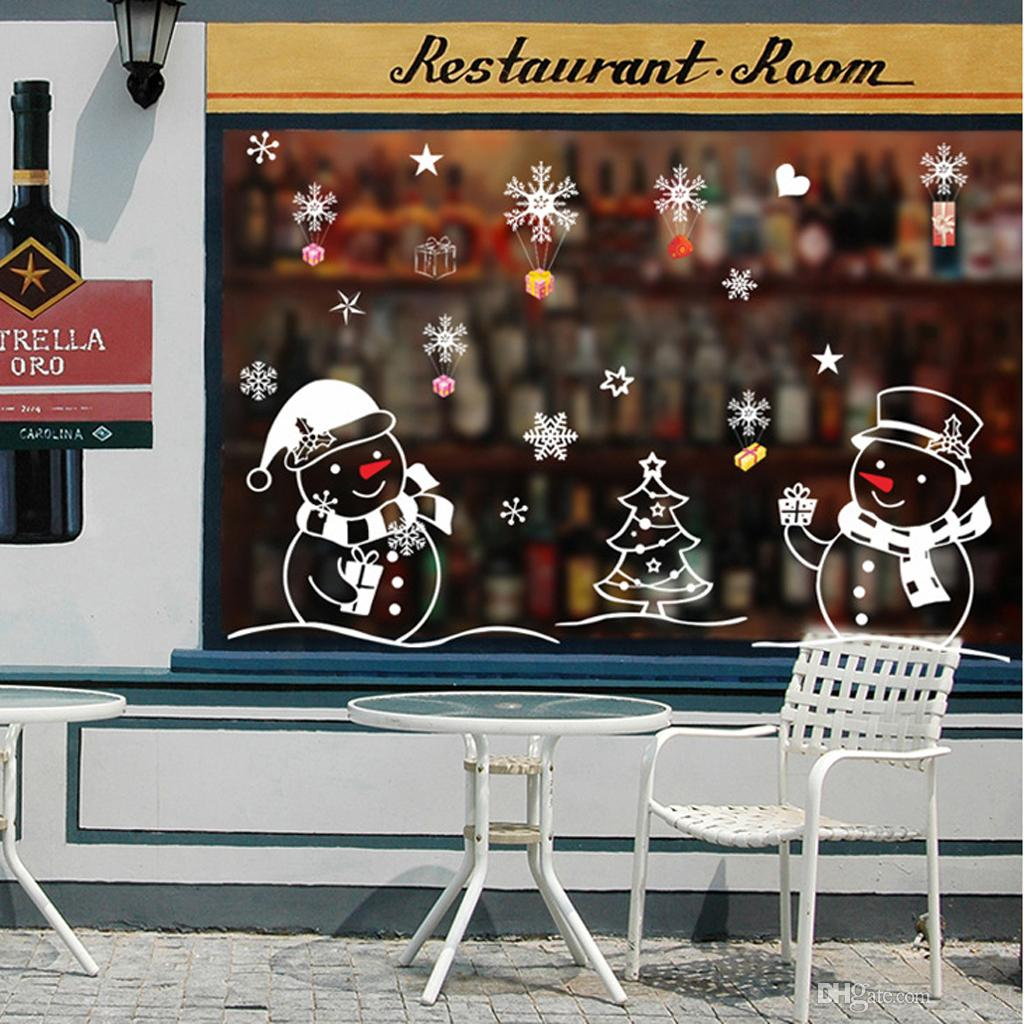 Merry Christmas Wall Sticker DIY Windbells Wall Snowflake Cabin Snowman Window Stickers Ornaments Decorations Drop Ship