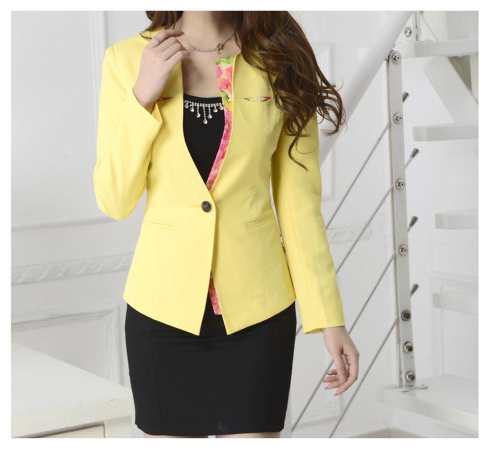 Best Spring Women Slim Blazer Coat 2016 New Fashion Formal Jacket ...