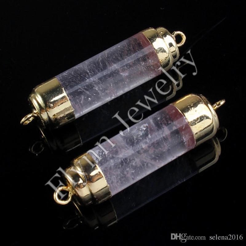금 도금 더블 훅 천연석 실린더 Druzy 커넥터 DIY 쥬얼리 자수정 오팔 락 크리스탈 타이거 라이트 10 개 제조