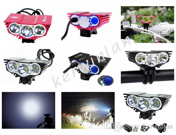 SolarStorm Black/Red 3x CREE XM-L U2 T6 LED Head Front Bicycle bike light HeadLight Lamp Light Headlamp with 6400mAh Battery pack Charger