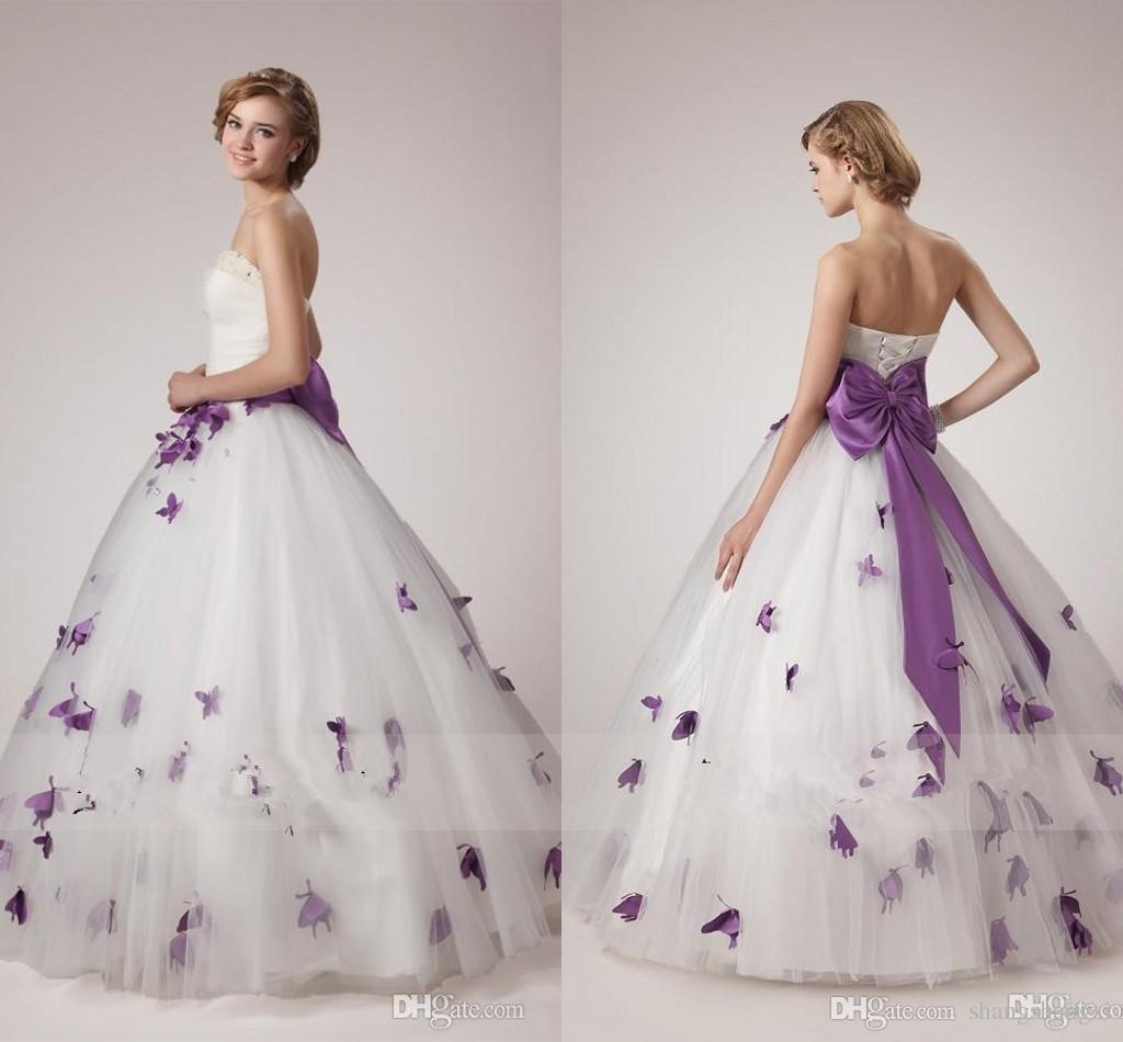 White And Purple Wedding Dresses 2018 Unique A Line Strapless With Pearls Crystals Sleeveless Corset Bodice Bow Tie Sash Butterfly Appliques