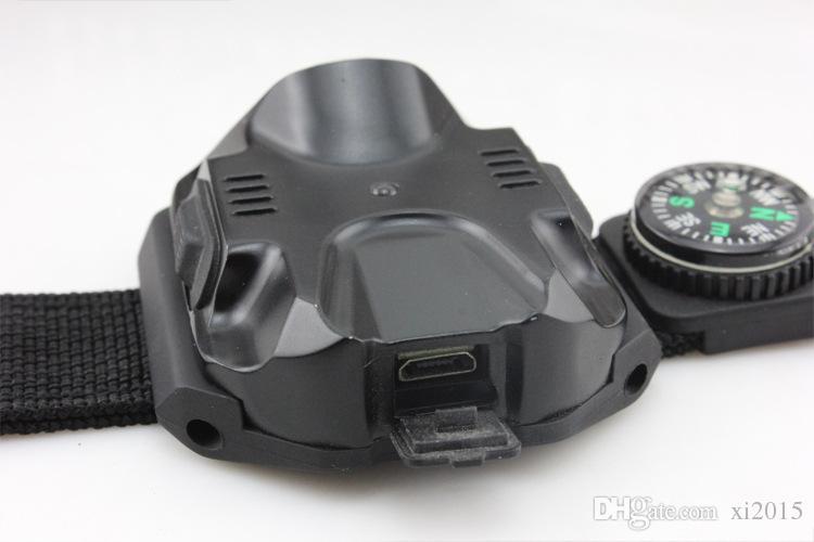 Rechargeable Outdoor Tactical LED Wristlight Flashlight Waterproof Wrist Lighting Lamp LED Strobe Light SOS Function #15411