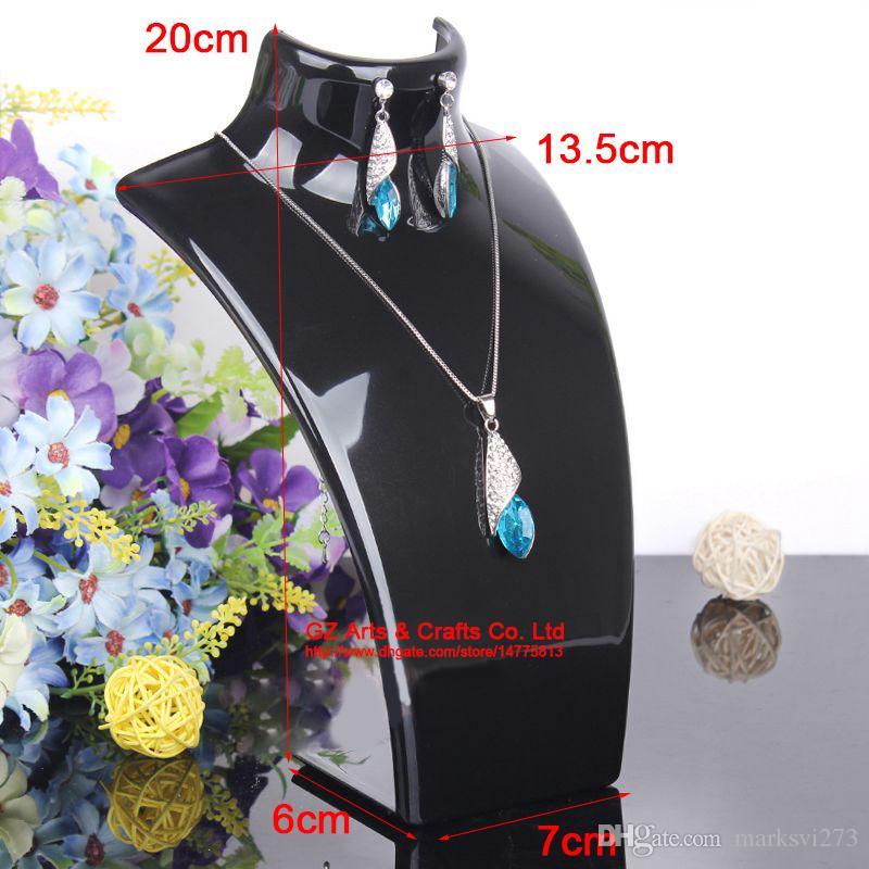 Örhänge Halsband Smycken Set Neck Modell Billiga Resin Akryl Smycken Display Stativ Mannequin Plast Pendant Holder Rack