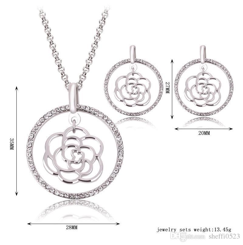 Flor Conjuntos de Jóias de Prata Banhado A Colar Brincos Conjuntos Para As Mulheres Agradável Presente de Natal Conjuntos de Jóias 61152052