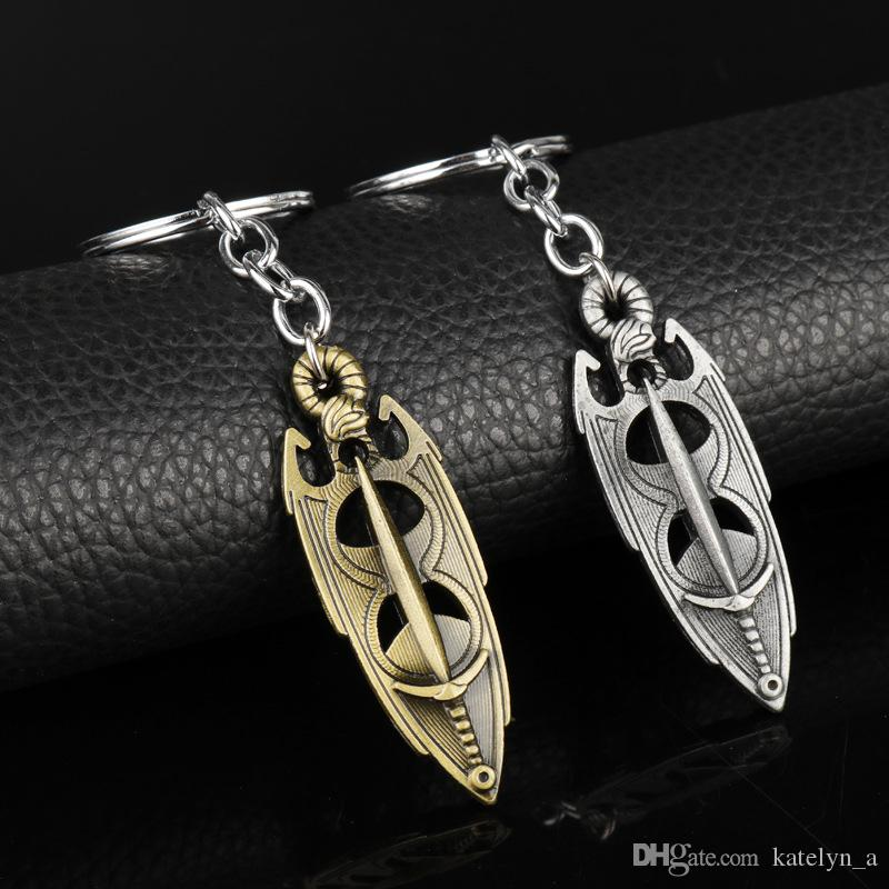 2 colors The Elder Scrolls 5 Skyrim Pendant Keychain Jewelry Dawnguard  Hearth Fire Dragon born Amulet Christmas Gift For Men Male