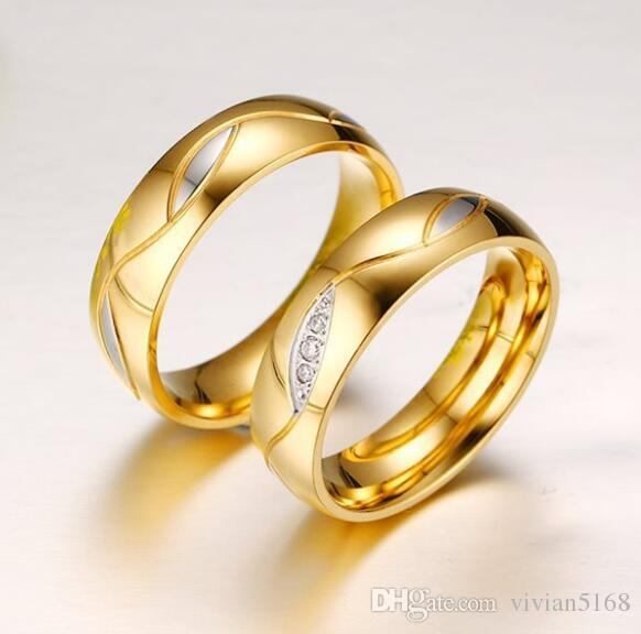 d128b0a86 Promotion Lover's CZ Diamond Jewelry Hot Plating 18K Gold Plated Titanium  Stainless Steel Double Rings Engagement Wedding Ring For gift