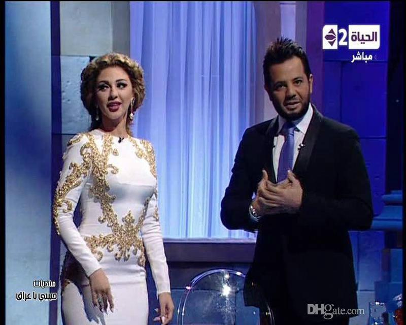 2015 Fashion Arabia Sexy Singer Myriam Fares Dresses Round Neck Beaded Mermaid Evening Celebrity Dresses Floor Length Chiffon Formal Dress