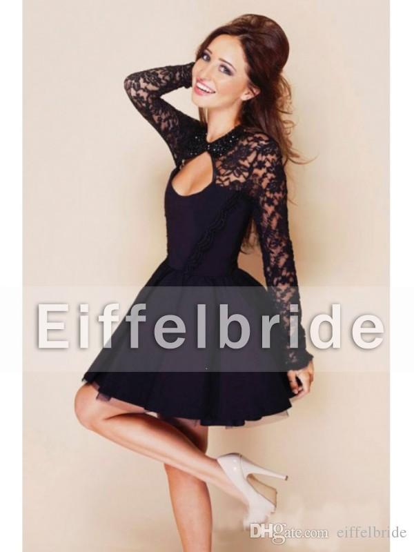 Sexy cocktail jurken illusie lange mouw aantrekkelijke pure kanten sleutelgat hoge nek en glamoureuze open rug zwarte korte feestjurken