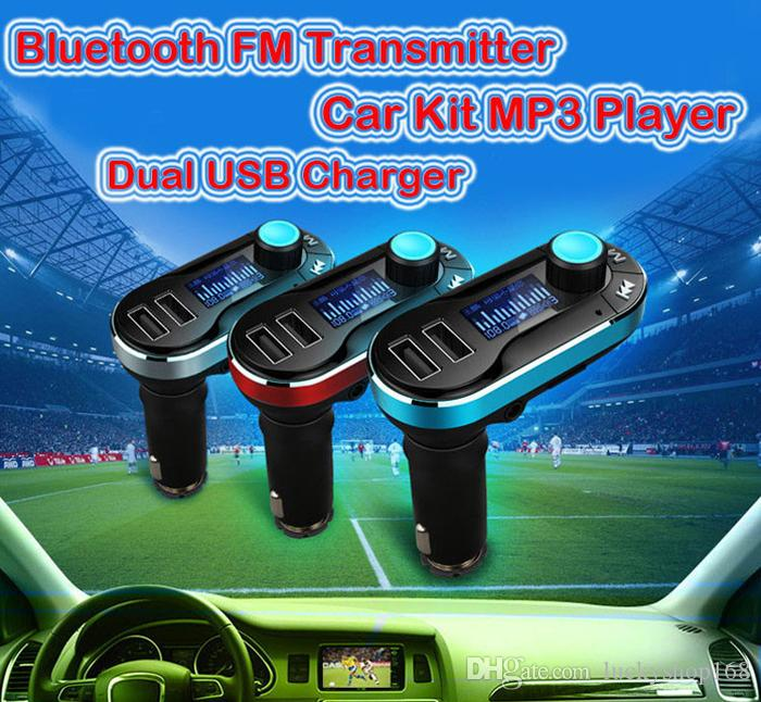 Hot Sale !!! Best Bluetooth Car Kit Handsfree MP3 Player With FM Transmitter Dual 2 USB Car Charger Support SD Line-in AUX DHL
