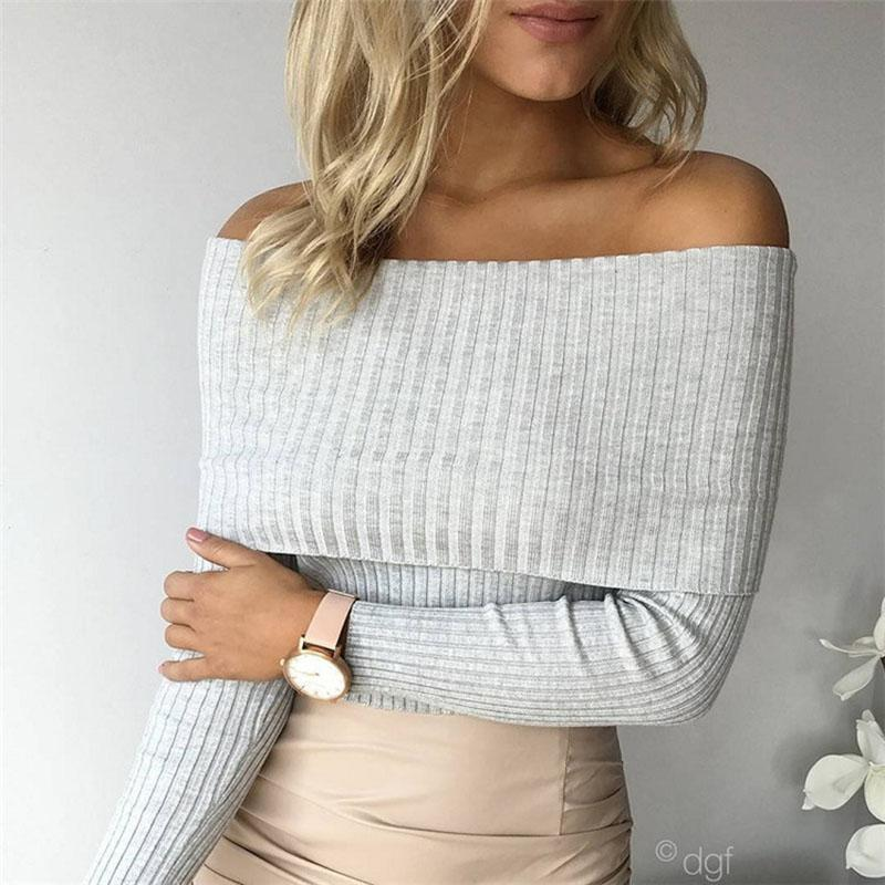 d1ef71b7588b4b 2019 Wholesale 2016 New Fashion Women Sexy Off Shoulder Casual Pullover  Sweater Poncho Loose Knitted Top Pullovers Oversized Knitwear Jumper From  Ario