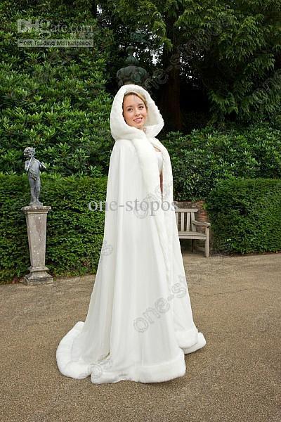 Plus Size Bridal 2015NewWhite Velvet Winter Wedding Accessories 2014 Winter Weiß Hochzeit Mantel Cape Kapuze mit Pelzbesatz Lange Brautjacke