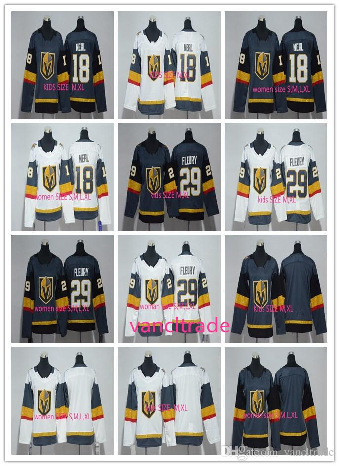 Women KIDS Vegas Golden Knights 18 James Neal 29 Marc-Andre Fleury Ice Hockey Jerseys Fleury Sports Uniforms Team Gray Road White Mix Order