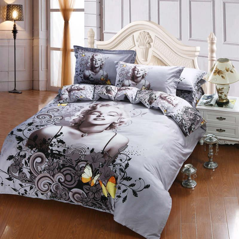 Marilyn Monroe Butterfly Oil Painting Bed Duvet Cover Flat Sheet Pillow Shams Cotton Queen Size