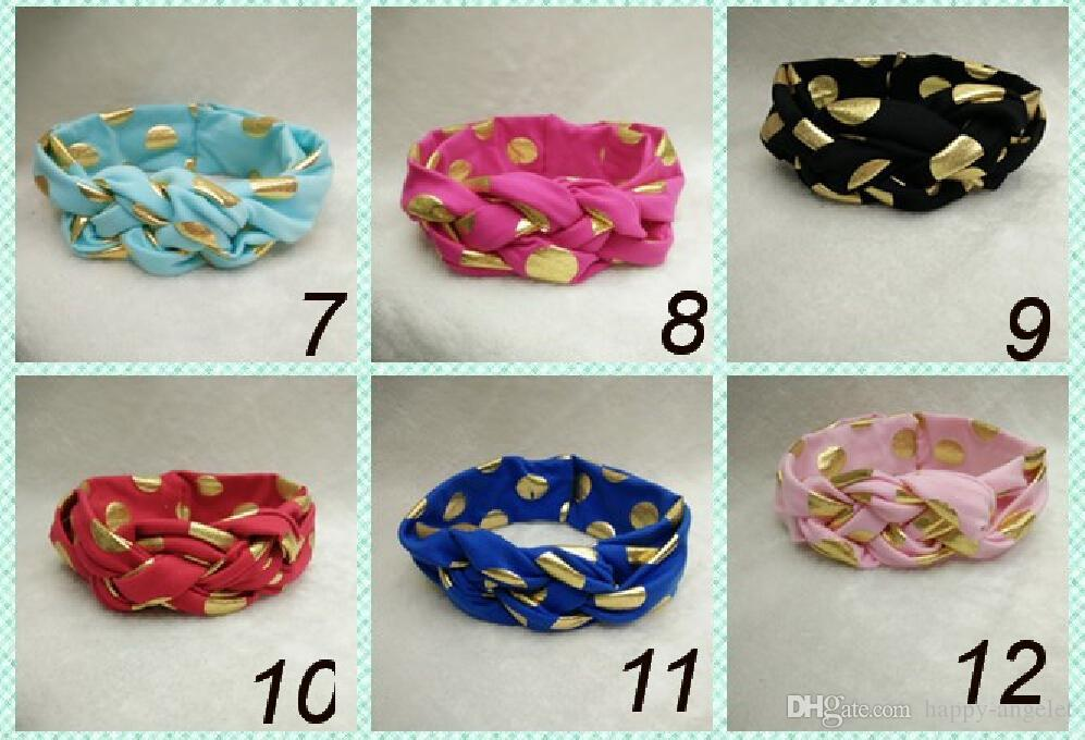 baby celtic Cross knot Wave point turban headband cotton twisted head wraps girl cute Twist Knotted Hot stamping golden Wave dot FD6580