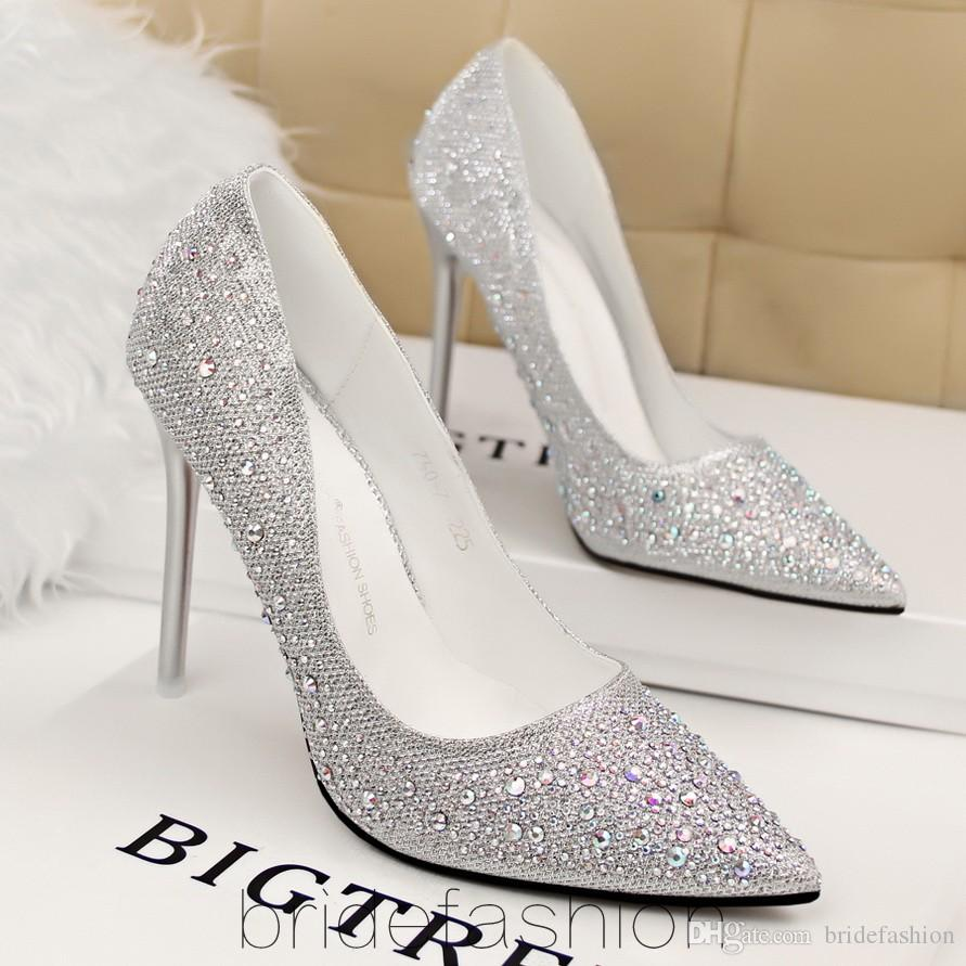 2015 Cinderella High Heels Silver Crystal Beaded Formal Occasion ...