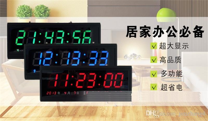 ¡HT4819SM-2, envío libre, reloj de pared grande de aluminio LED digital, reloj grande diseño moderno, reloj digital! Led calendario electrónico