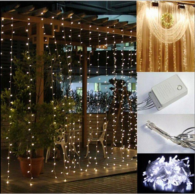 Cheapest Christmas Outdoor Lights Decorations: ThanksGiving Sale EU Plug Curtain String Lights Garden
