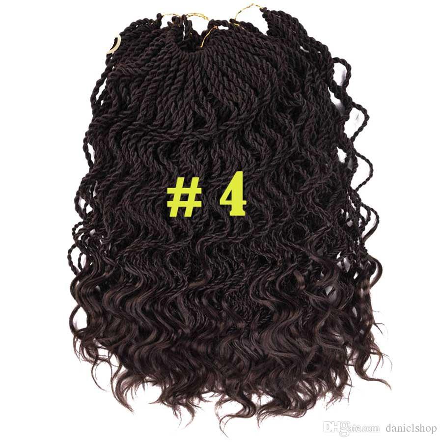 14 Pulgadas Rizado Senegale Twist Ganchillo Trenzado Cabello 35 Raíces Crochet Trenzas Extensión Del Pelo Fibra De Baja Temperatura 6 pack / lote