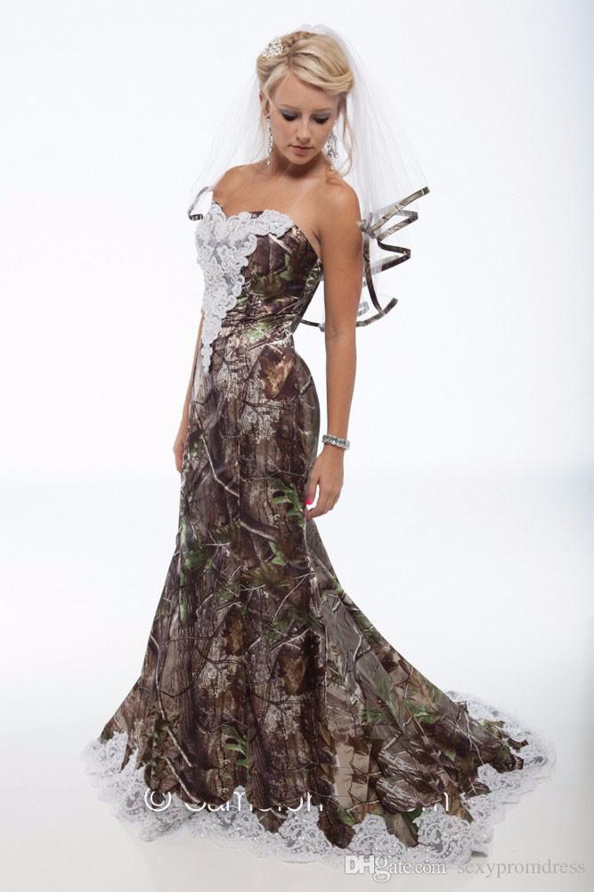 Abiti da sposa 2015 Camo Plus Velo Vintage Sweetheart Lace Mermaid Camo Abiti da sposa Backless Sweep Train Camouflage Abiti da sposa