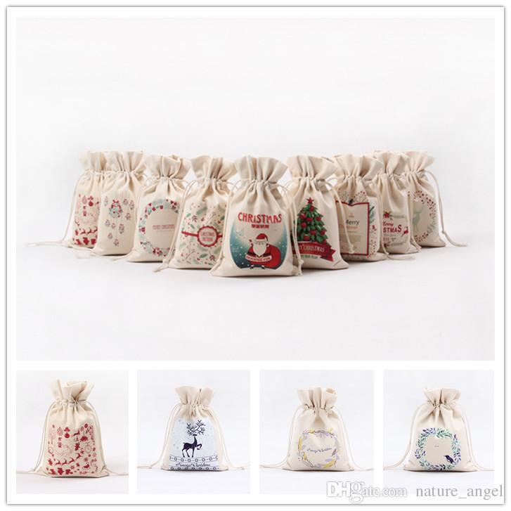 dhl ship 13 styles santa sacks christmas gift bag canvas christmas drawstring bag 16 23 5cm christmas bags chrismas candy bags decoration christmas gift bag