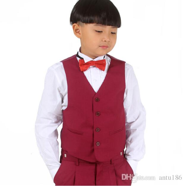 Customize new boy's suit flower boys dress children suit wedding dress performance clothes jacket+pants+vest+tie custom made