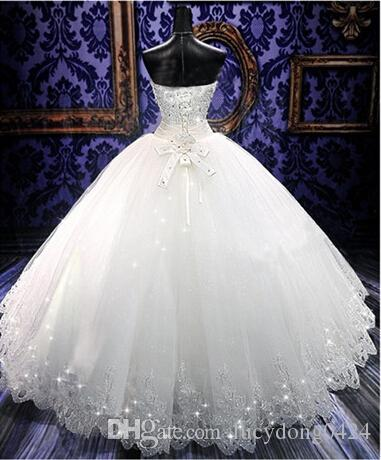 High Quality Real Photoes Bling Bling Crystal Wedding Dresses Back Bandage Tulle Appliques Floor-Length Ball Gown Wedding Gowns