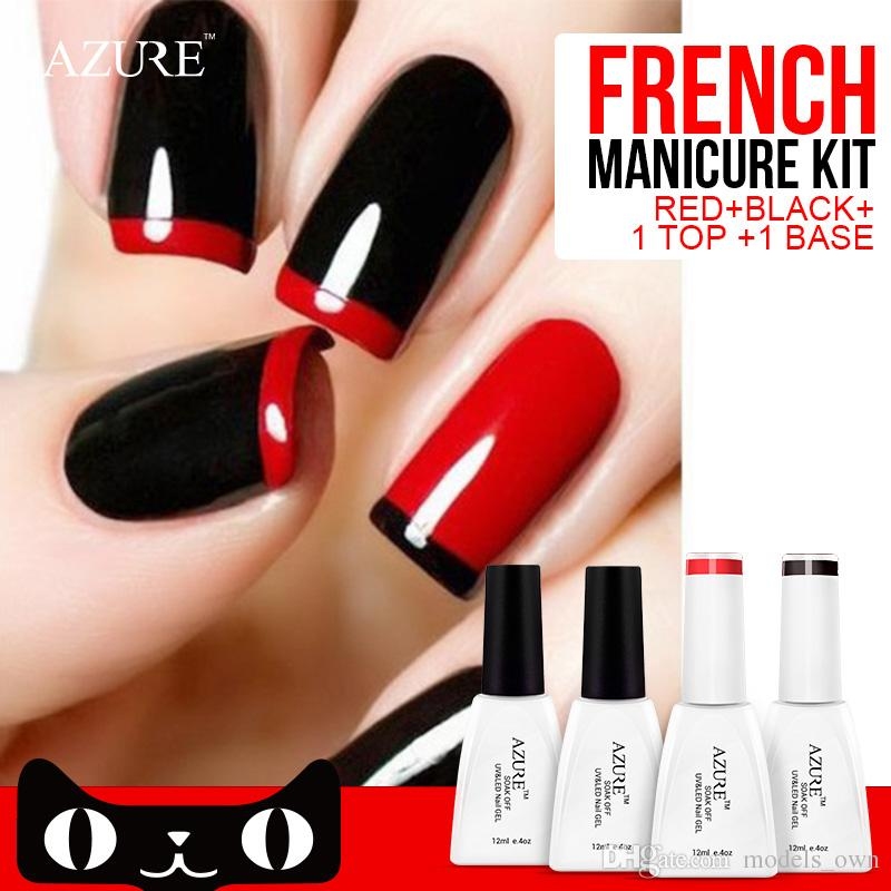 2015 New Trend Azure Nail Gel Polish French Manicure Black Red Color ...