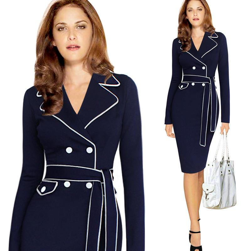 172e37e2b8e 2019 Elegant Formal Work Dresses Female Career Office Long Dress V Neck  Striped Patchwork Women Clothing Plus Size S 4XL From Sinofashion