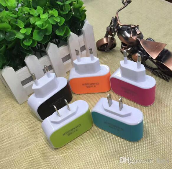 US Plug 3 USB Ports Wall Charger 5V 3.1A LED Travel Power Adapter EU Chargers Dock Charge For Mobile Phone S8 Note8