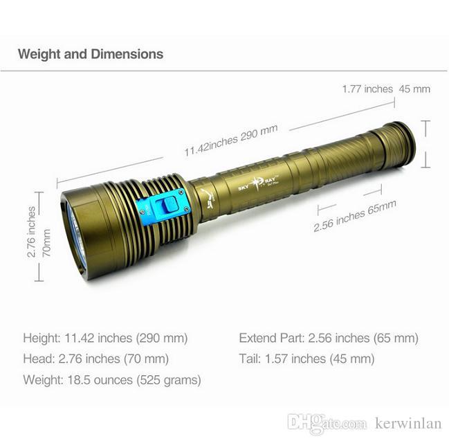 DHL Skyray DX7 Plus Diving Flashlight 150m Underwater 7x CREE XM-L L2 Scuba Diver Lanterna Torch +3x26650 battery+ Charger
