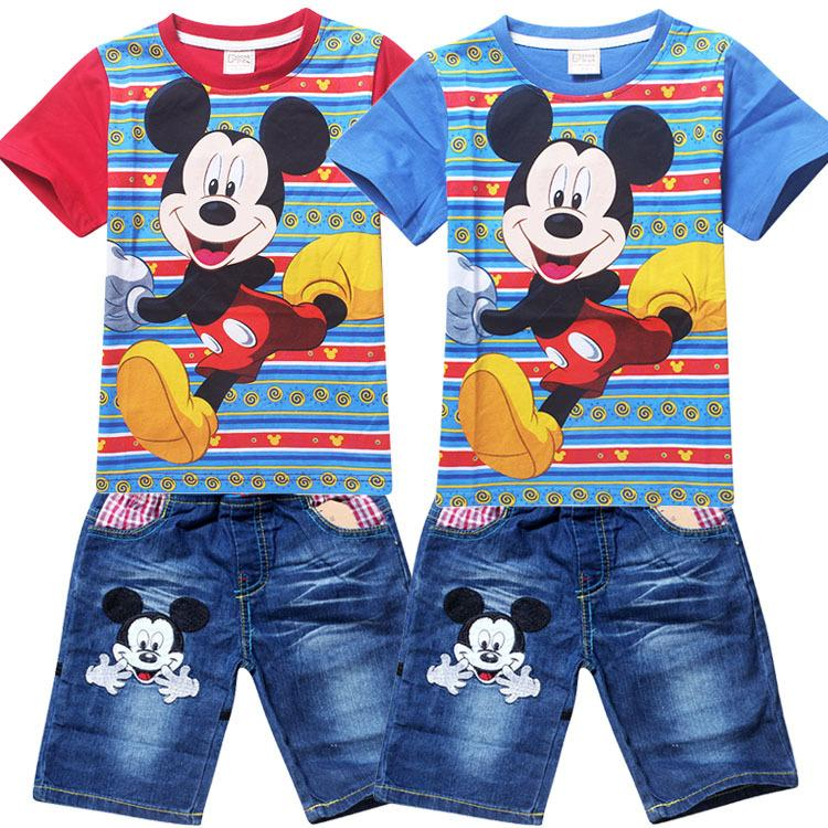 2018 Summer Boys Clothing Set Mickey Mouse Cartoon Cotton T Shirt+Denim Shorts Pants Suit Baby ...