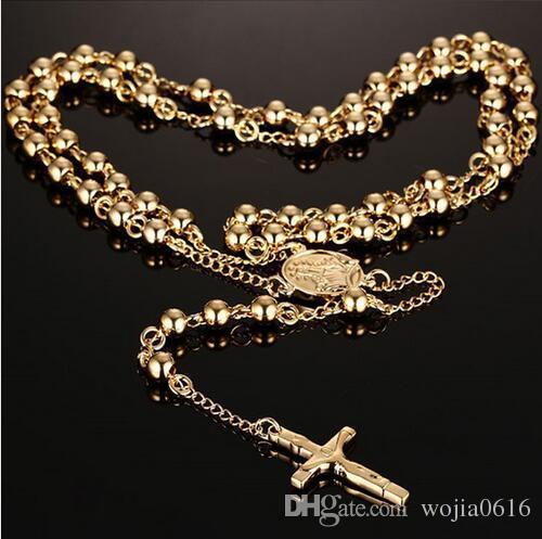 Collar de cuentas de rosario cruz jesus colgante de acero inoxidable chapado en oro para hombres y mujeres Cadena de cuentas de rosario