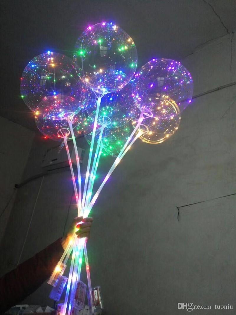 NUEVO LUZ UP TOYS LED Luces de cadena LED Flasher Iluminación Bola de onda de globo 18 pulgadas de aire puede flotar globos globos Decoración navideña Juguetes