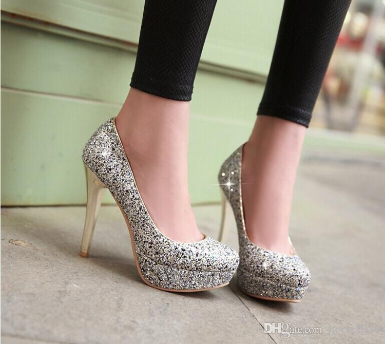 Glitter Lady Spring Dress Shoes Stiletto Heel Platforms White Gold Wedding Dress Shoes Sparkling Nightclub Party Prom Shoes