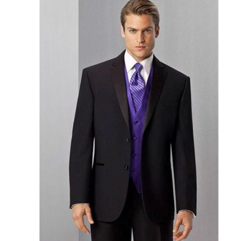 Acheter Nouvelle Coutume Noir Revers Hommes Costumes Gilet Violet Costumes  De Mariage Garçons D honneur Smoking 3 Usine Faite De  104.53 Du Aliza327  ... 8e2b145343b