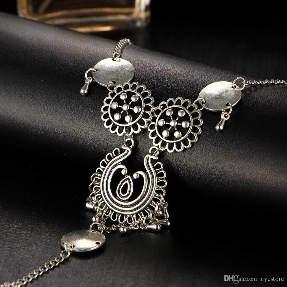 Bohemian Style Flower Joint Tassel Toe Chain Link Anklets Bracelet Foot Jewelry Body Jewelry For Women