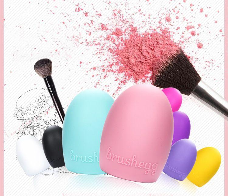 New Egg Cleaning Glove MakeUp Washing Brush Scrubber Board Cosmetic Brushegg Cosmetic Brush Egg Pink Purple Mint Green