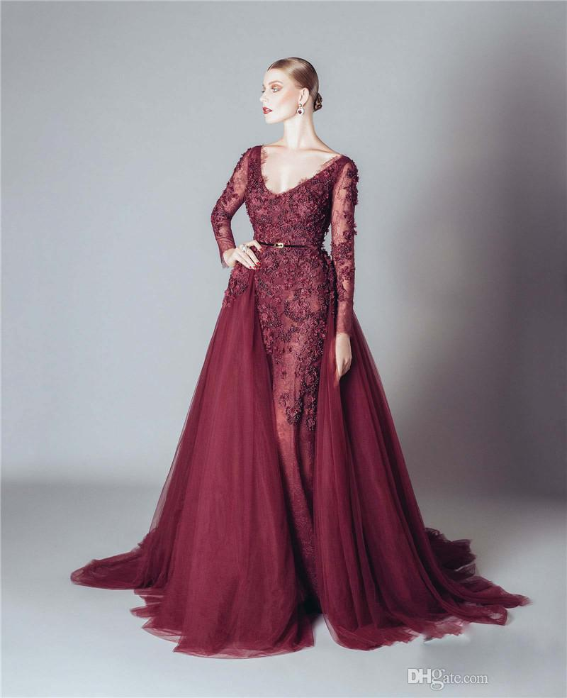 Alfazairy 2016 Burgundy Lace Long Sleeve Evening Dresses Sexy Backless 3D-floral Applique Beads Tulle Detachable Skirt Custom Made EN121714