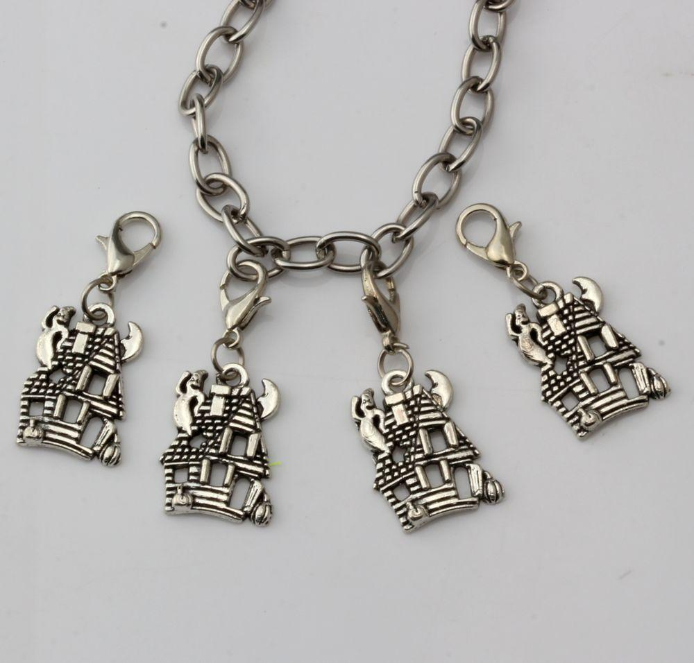 Hot ! Fashion Antique Silver Zinc Alloy *CUTE HAUNTED HOUSE GHOST* With lobster clasp Fit Charm Bracelets DIY Jewelry 14x34 mm