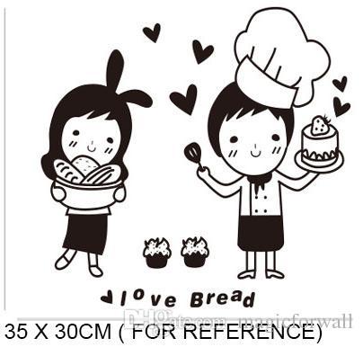 Dibujos animados encantador panadero Wall Art Mural Decor Funny Restaurant Cocina azulejo gabinete Refrigerador Decal Poster gráfico I love bread cita de la pared